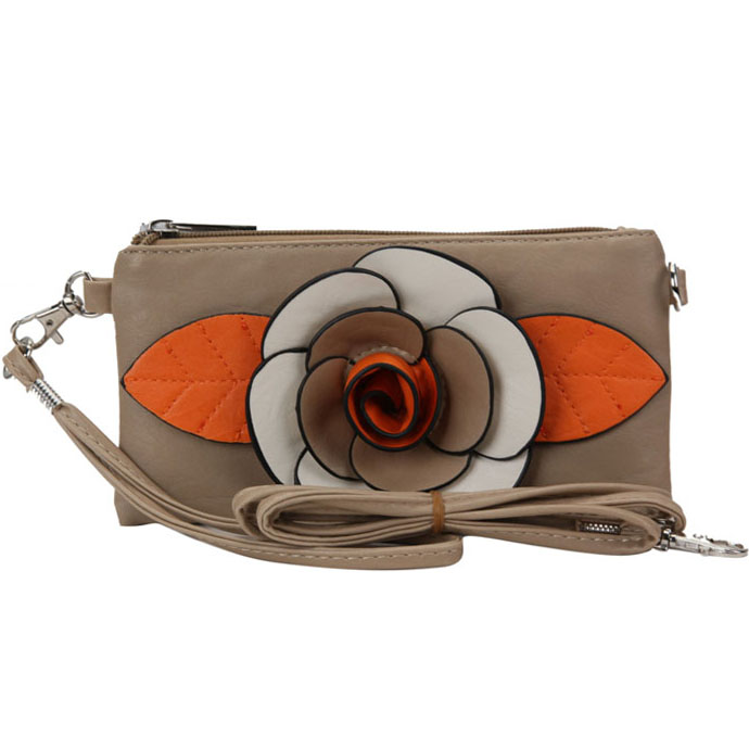 Trendy Mini Clutch / Wristlet with Multi-colored Flower Accent