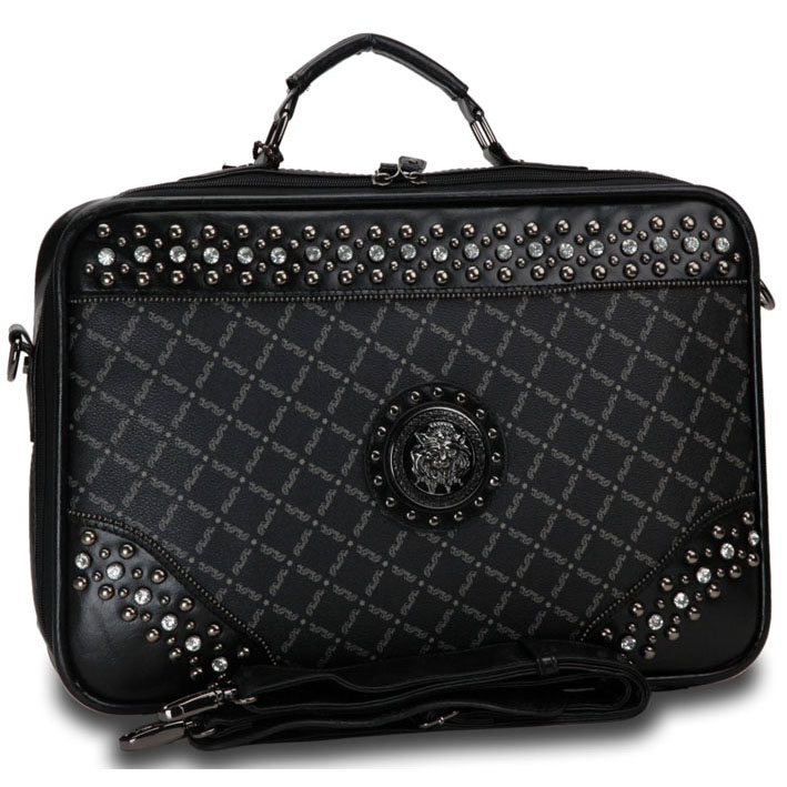 Fashion Designer Inspired Studded Accent 2 Tone Briefcase with Silver Lion Emblem-Black