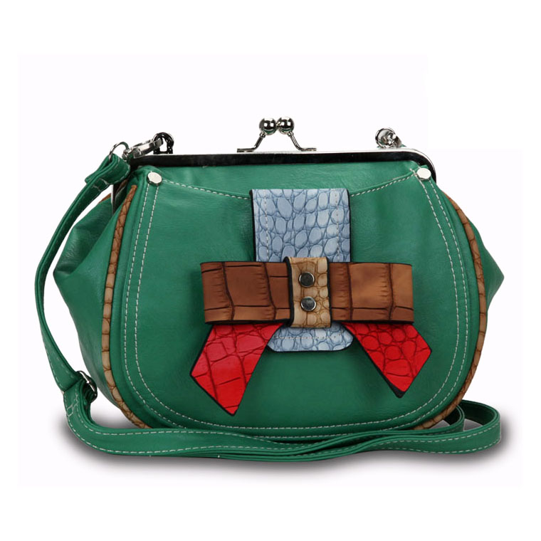 Stylish Crossbody Bag with Multi-colored Croco Embossed Bow Trim