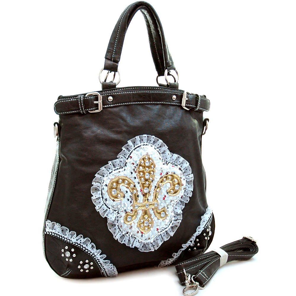 Fashion oversized tote bag w/ studded fleur de lis, ruffle & sequins