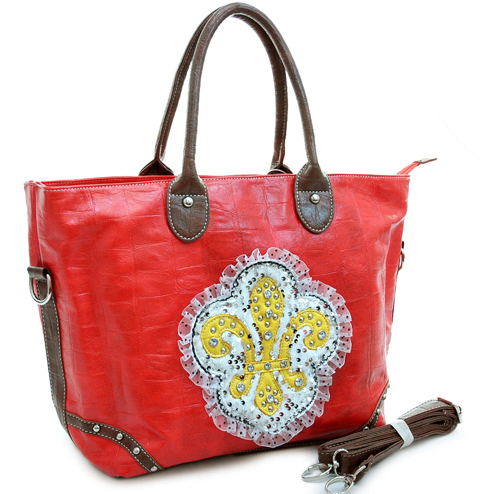 Ustyle Fashion Oversized Tote Bag with Studded Fleur de Lis & Ruffle Sequins-Red