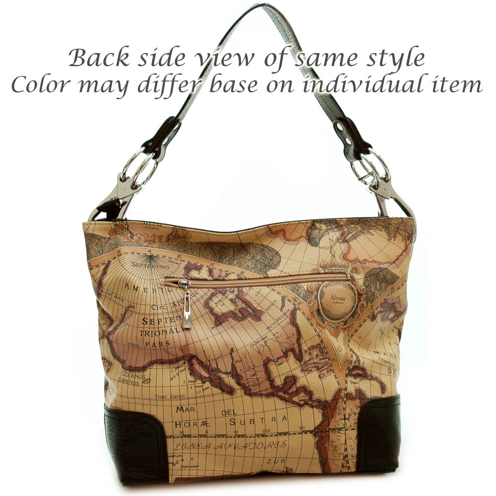 World map print tote bag with chained in shoulder strap