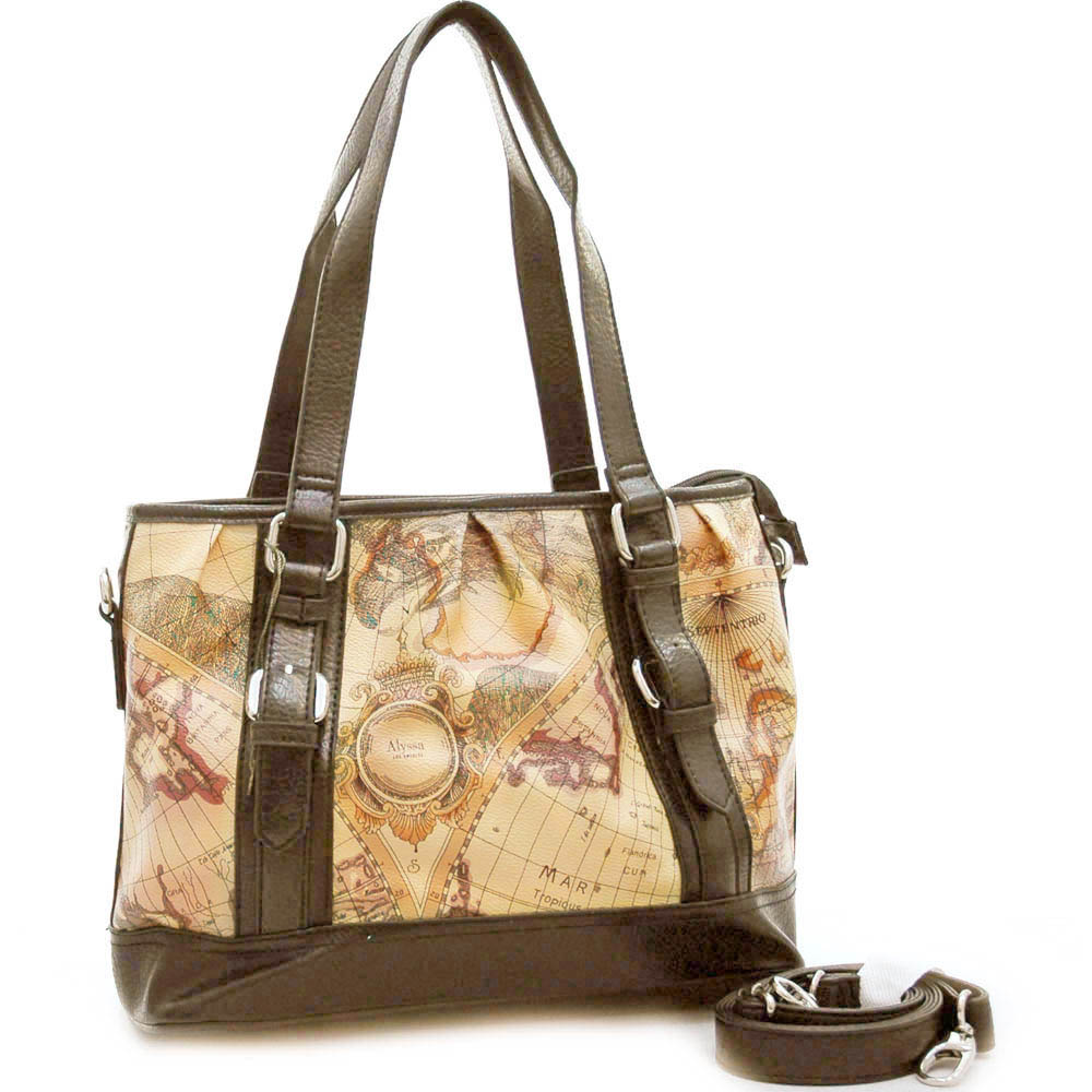 World map print belted tote bag