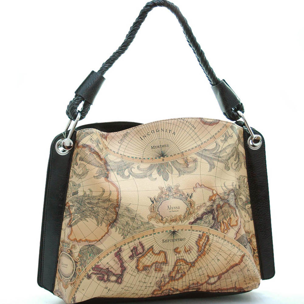 World map print oversized shoulder bag with braided strap