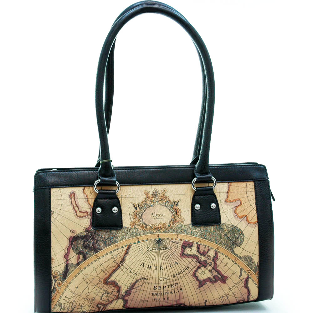 World map print shoulder bag