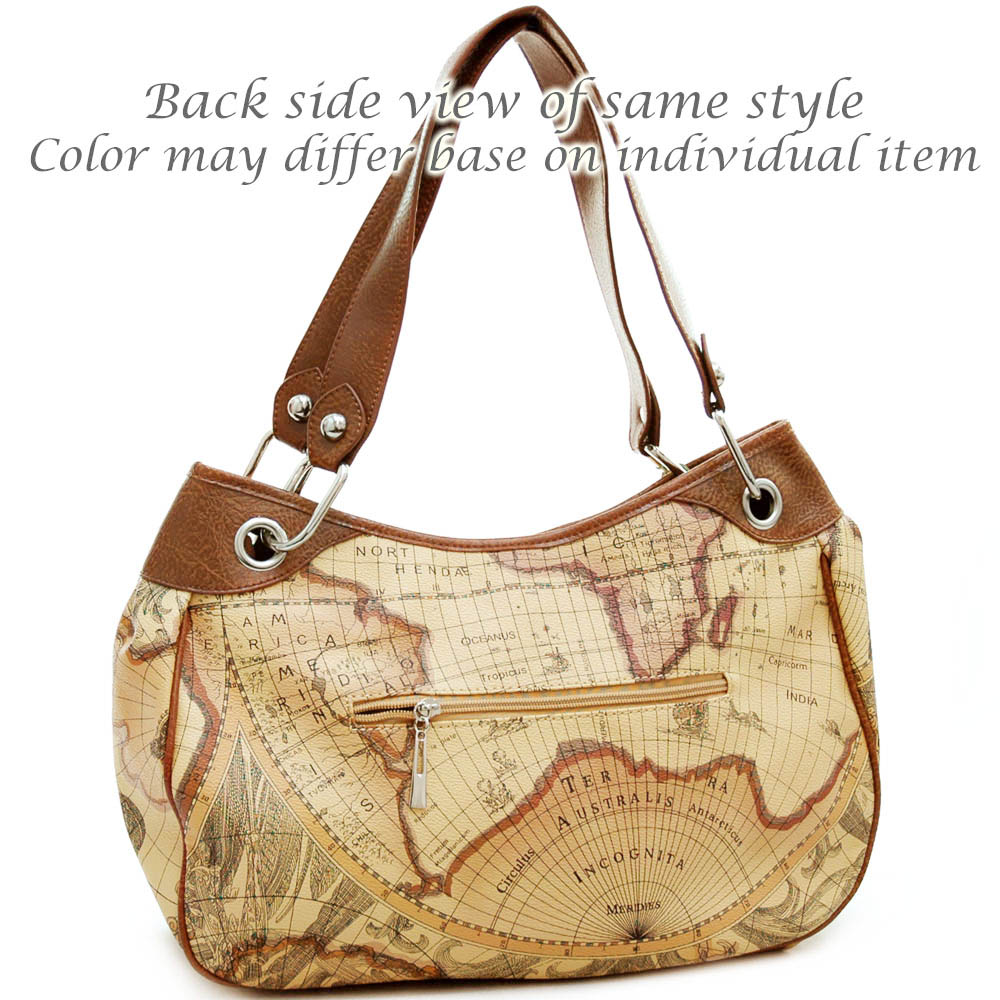 World map print wide shoulder bag with chained in strap