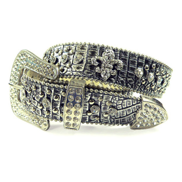 Dasein Ladies Western Studded Croco Belt with Rhinestone Fleur de Lis Pattern-Silver
