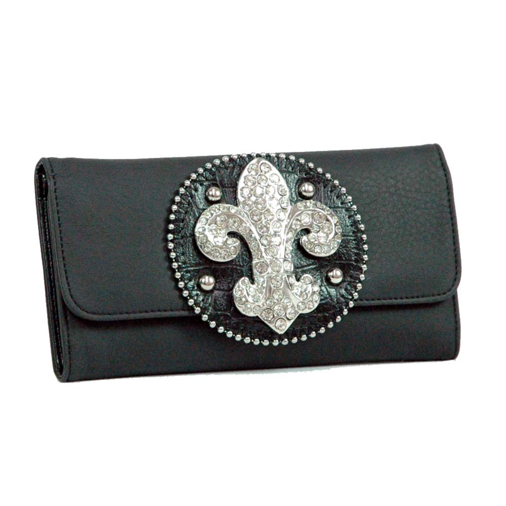 Ustyle Rhinestone Fleur De Lis Sign Checkbook Wallet-Black