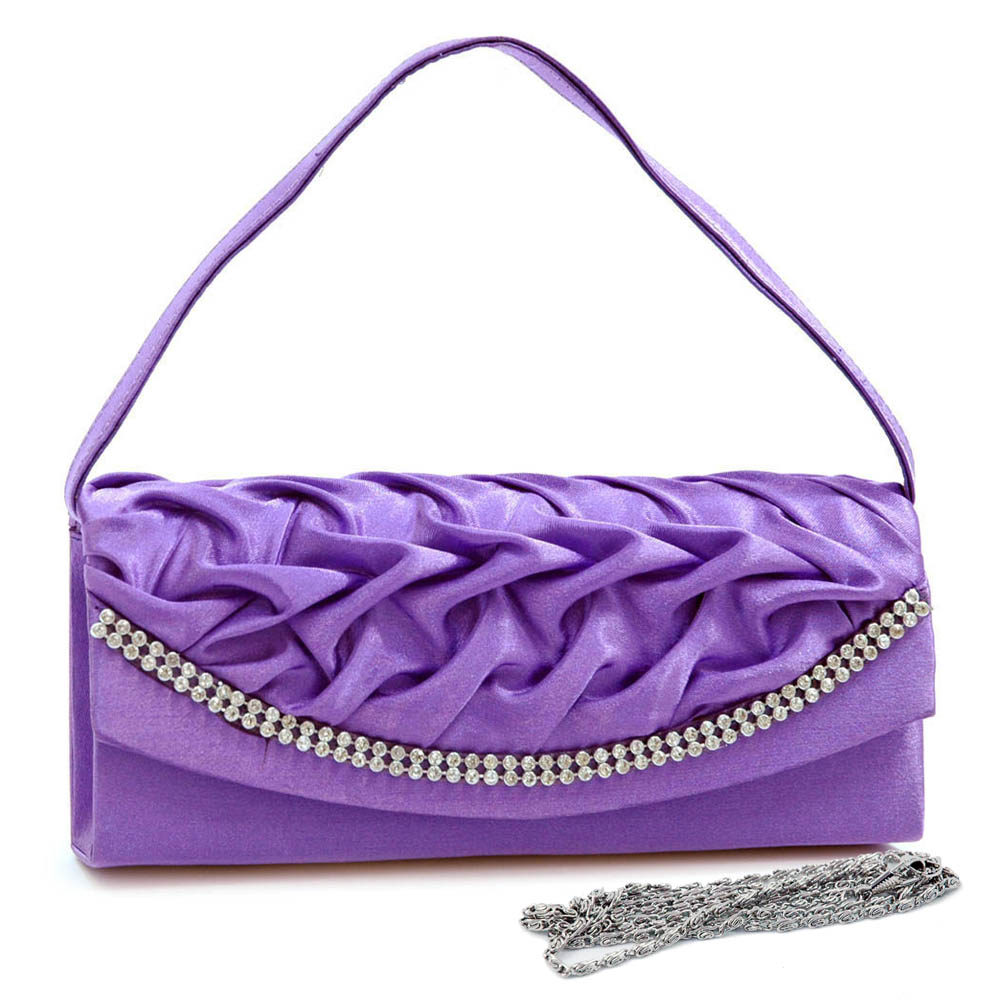 Wrinkled Flap Evening Bag with Rhinestone Trim