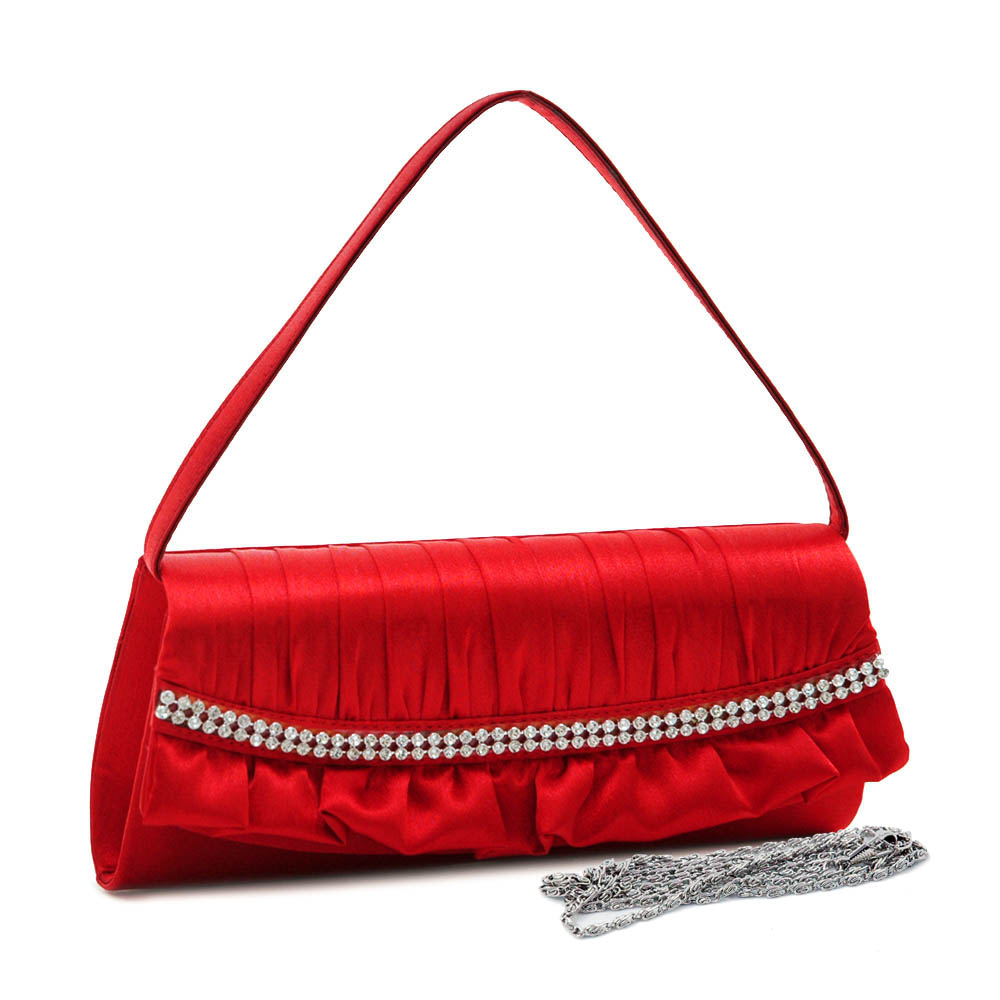 Ruffled Edge Evening Bag with Curved Rhinestone Trim