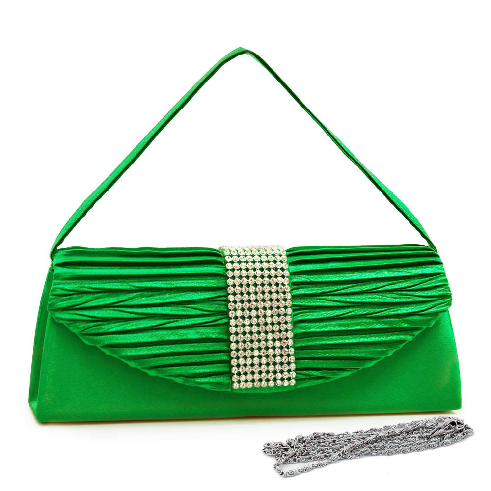 Pleated Flap Evening Bag with Gridded Rhinestone Trim