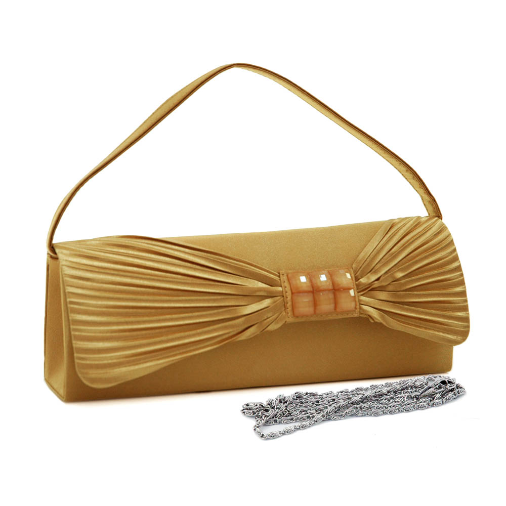 Pleated Bow Tie Satin Evening Bag