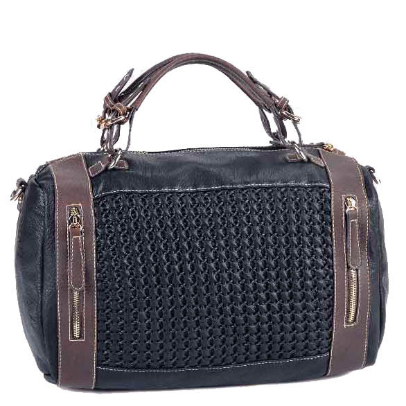 Designer Inspired Satchel with Woven Front & Dual Zipper Pockets - Black