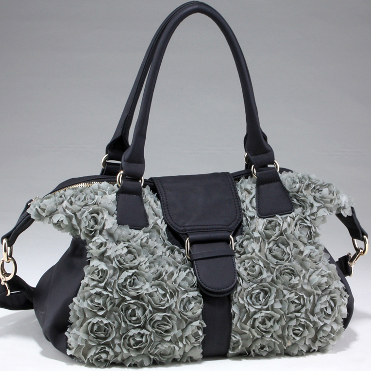 Decorative Rosette Shoulder Bag with Flap Over Magnetic Snap Closure - Black