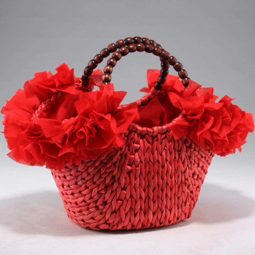 Fashion straw woven tote w/ beaded carrying straps