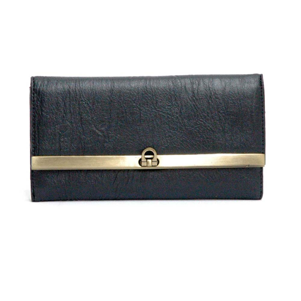 Dasein Plain Textured Faux Leather Fold Over Checkbook Wallet with Flip Lock - Black