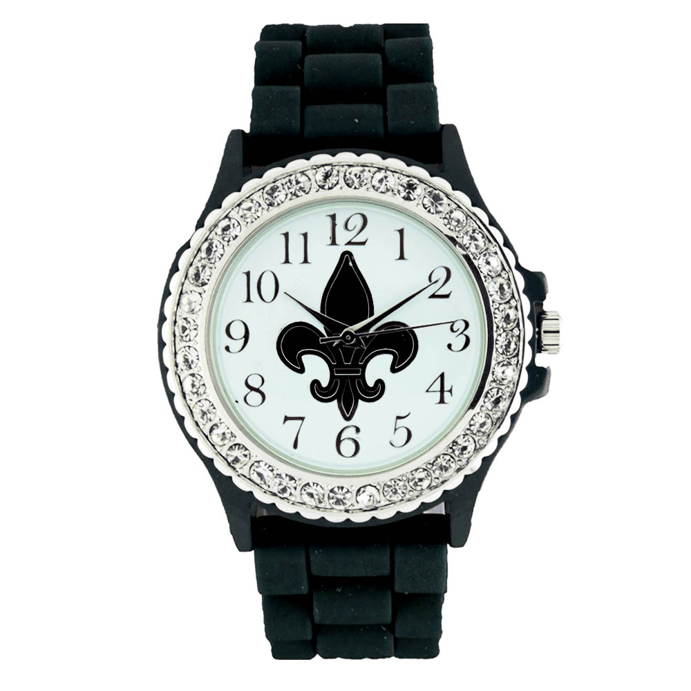 Small Round Face Silicone Watch w/ Crystal Accents & Fleur de Lis Symbol