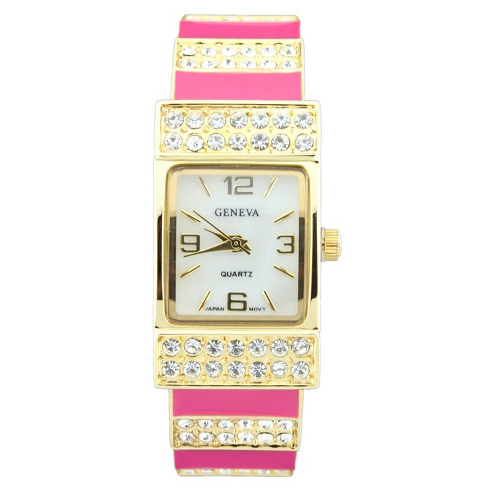 Classic Cuff Style Watch with Rhinestone Accents-Fuchsia/Gold