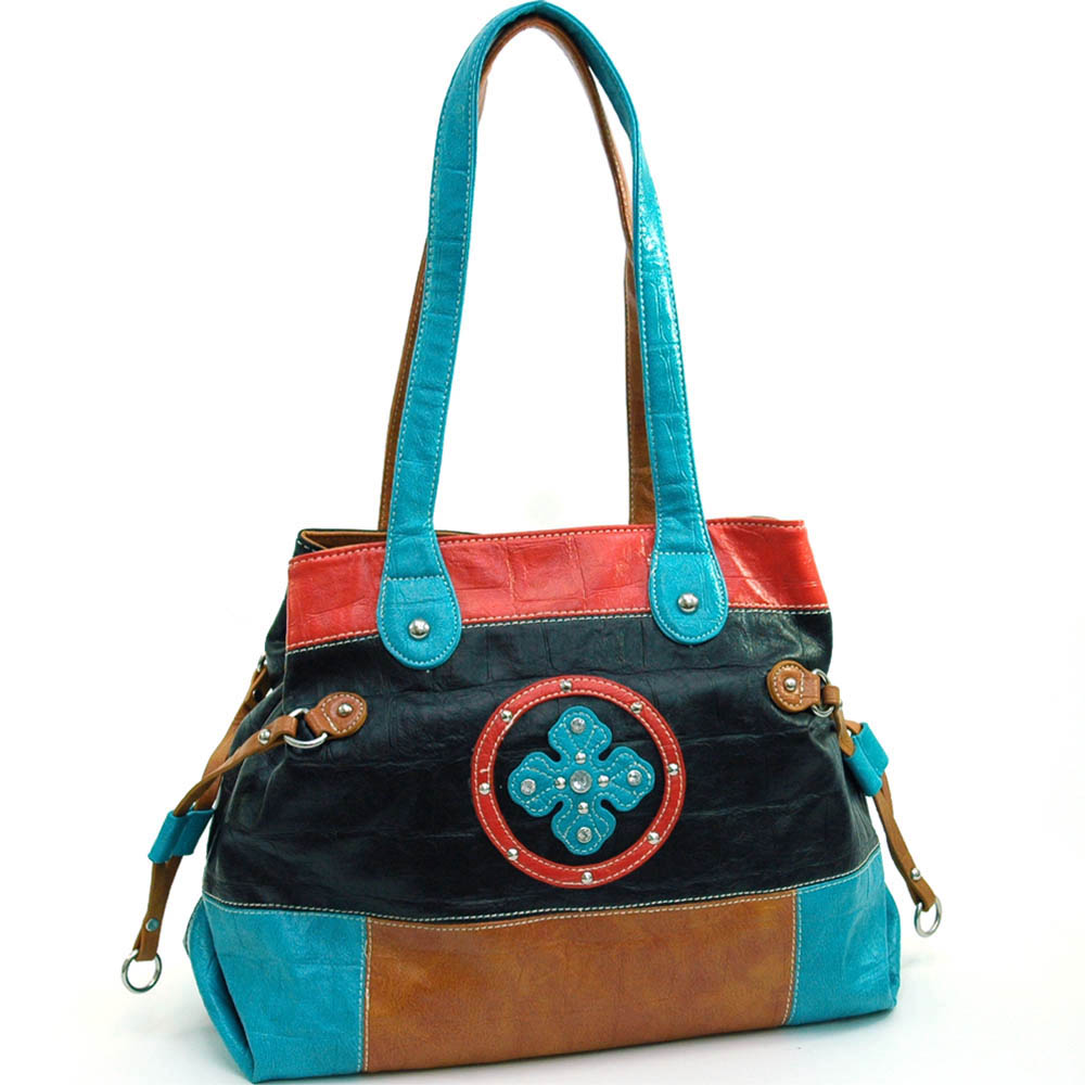 Fashion tote bag with clover design rhinestone accents - blue