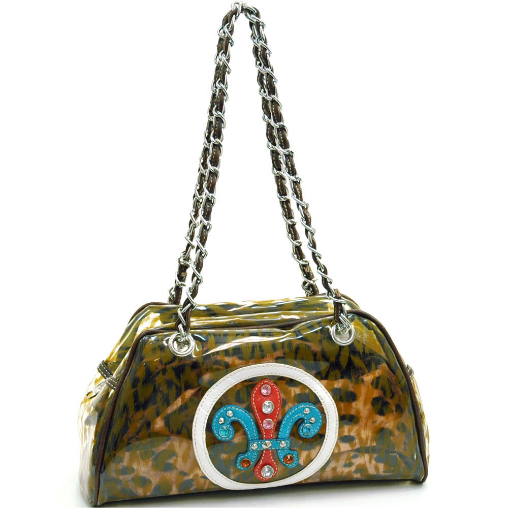 Fleur de Lis vinyl fashion shoulder bag w/ bonus drawstring bag-Mustard