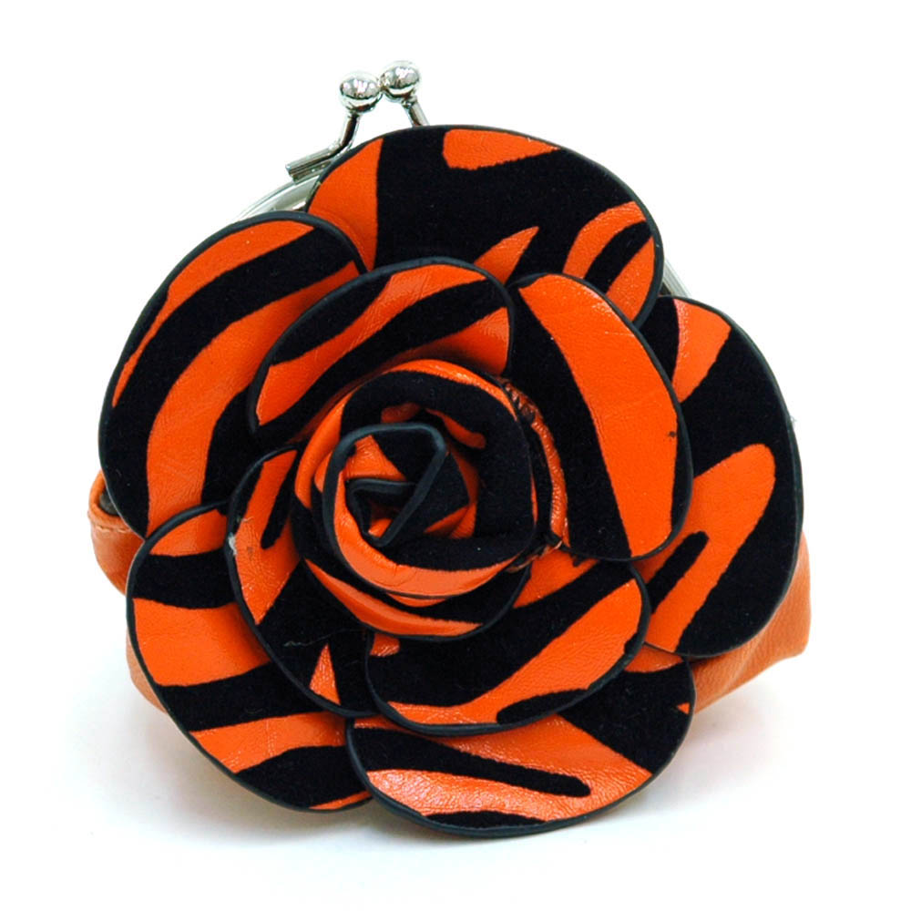 Ustyle Floral Rosette Coin Purse with Kiss-lock Closure-/ Leopard Print