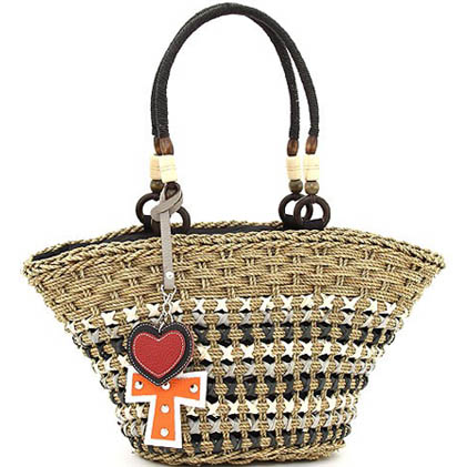 Summer straw-woven tote w/ heart and cross accent