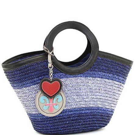 Summer straw-woven tote w/ heart and fleur de lis accent