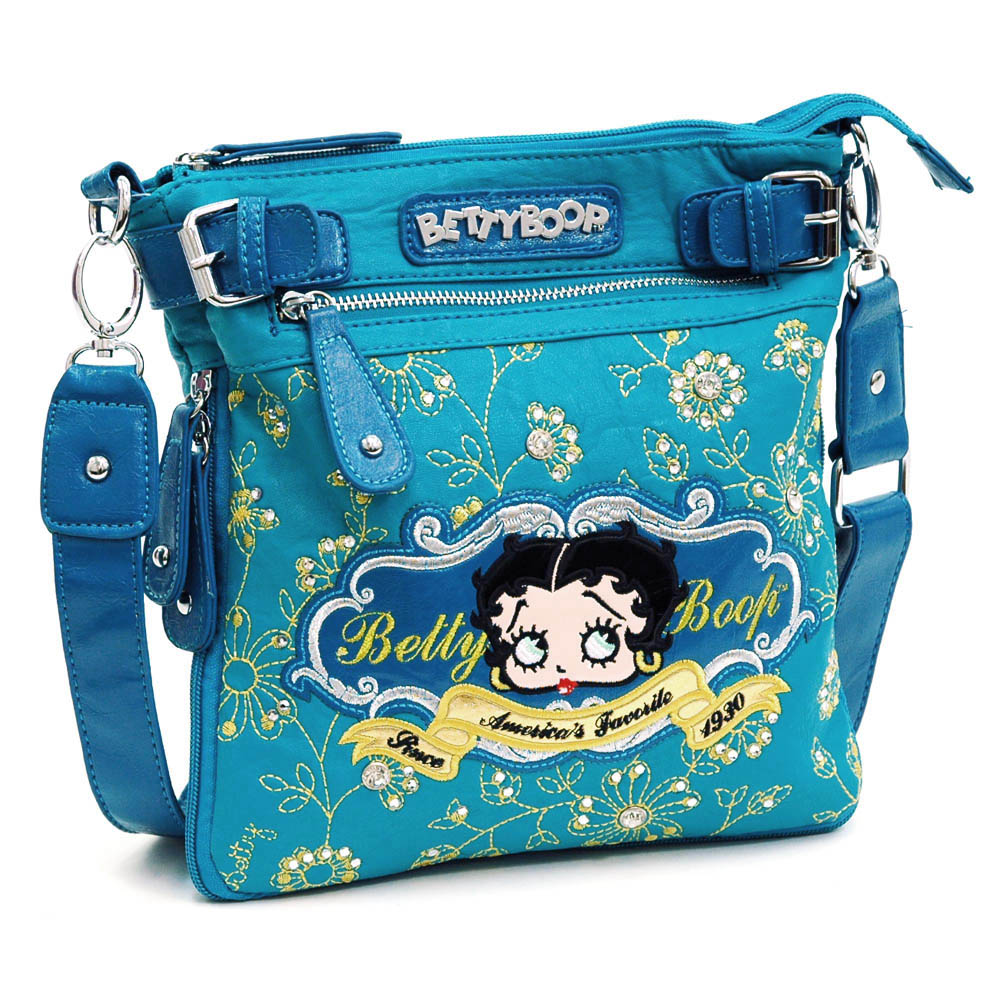Betty Boop ® Messenger Bag with Floral and Rhinestone Embroidery-Turquoise