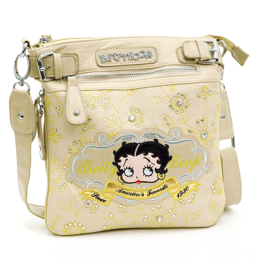 Betty Boop ® Messenger Bag with Floral and Rhinestone Embroidery-Beige