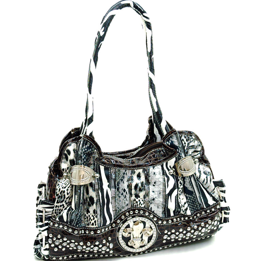 Animal print and croco shoulder bag w/ rhinestone studs  & fleur de lis