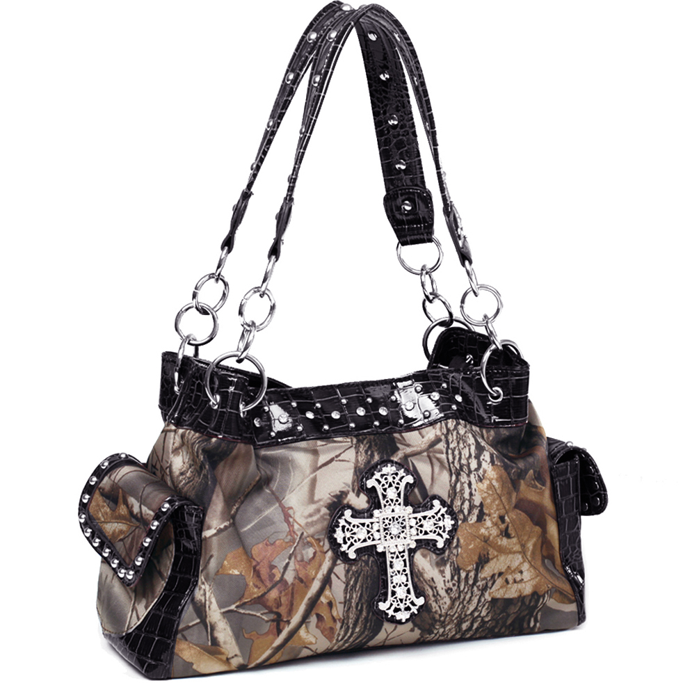Realtree® Hardwoods HD Camo Rhinestone Cross Shoulder Bag