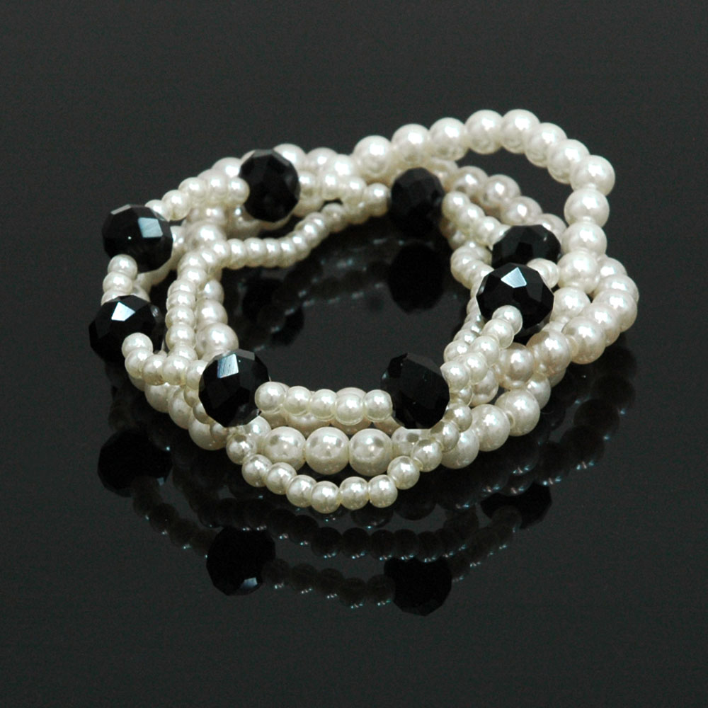 4 Line Cream Pearl Bracelet w/ Colored Crystal Stone Accents