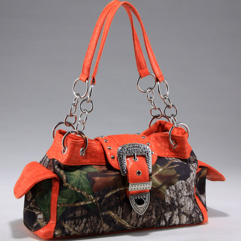 Mossy Oak® Arctic Camo Rhinestone Buckle & Hooped Handle Shoulder Bag