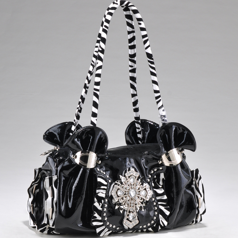 Zebra print shoulder bag w/ rhinestone cross symbol