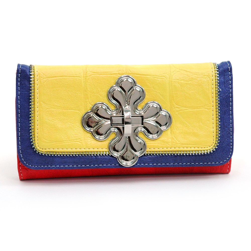 Multicolor Cross Checkbook Wallet with Zipper Trim Accents