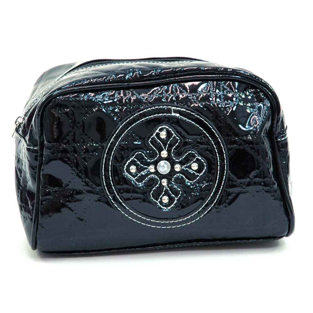 Patent Leatherette Cosmetic Bag w/ Studded Cross