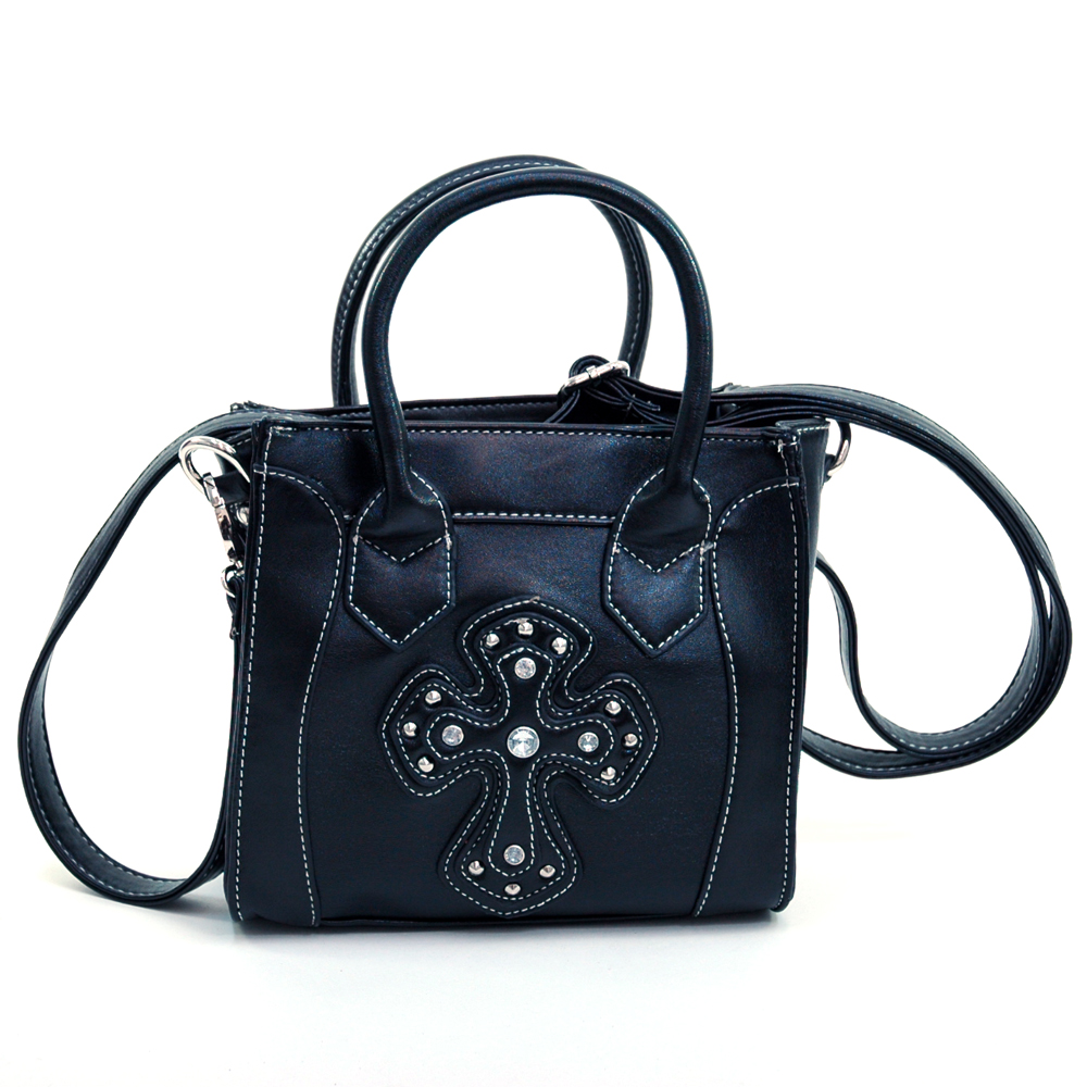 Mini studded cross tote w/ detachable crossbody strap