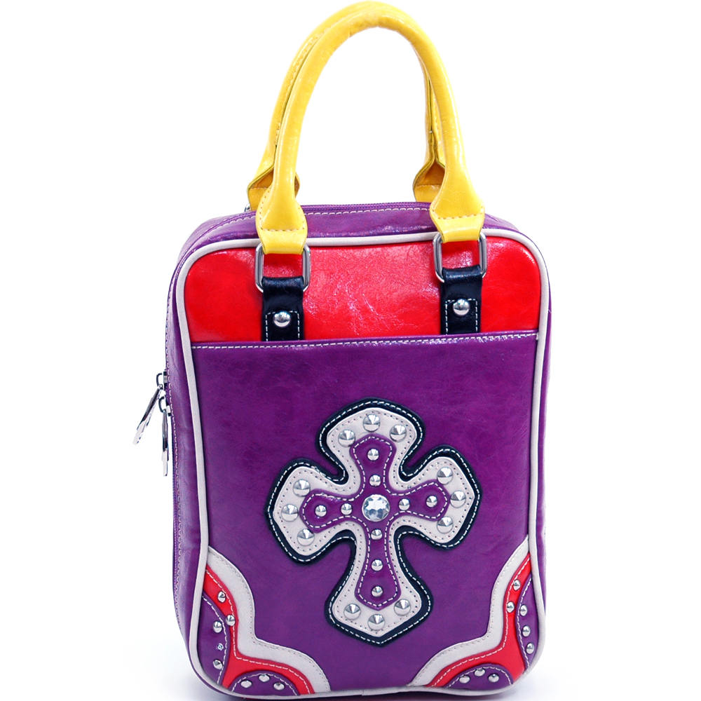 Ustyle Multicolor Studded Cross Bible Cover with Carrying Handles-Purple/Multicolor