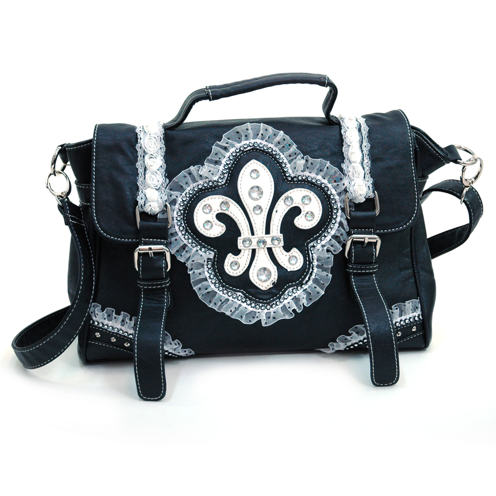 Ustyle Fleur de Lis Lace and Sequins Decor Briefcase / Messenger Bag