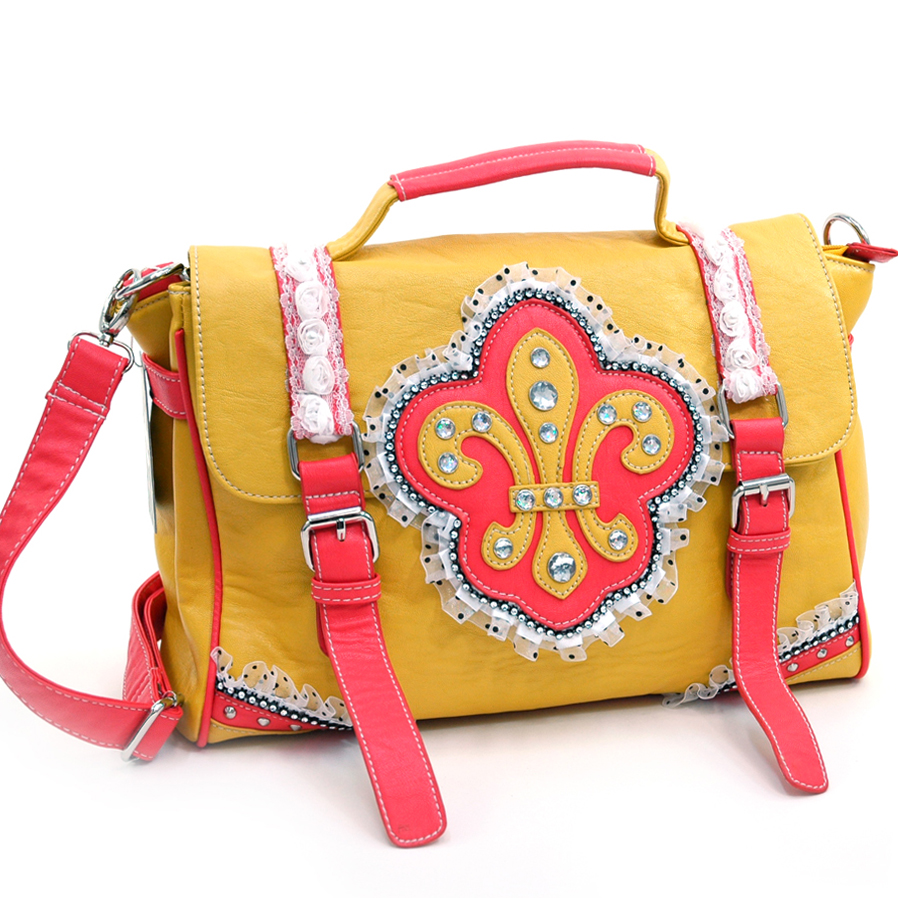 Ustyle Fleur de Lis Lace and Sequins Decor Briefcase / Messenger Bag-Yellow