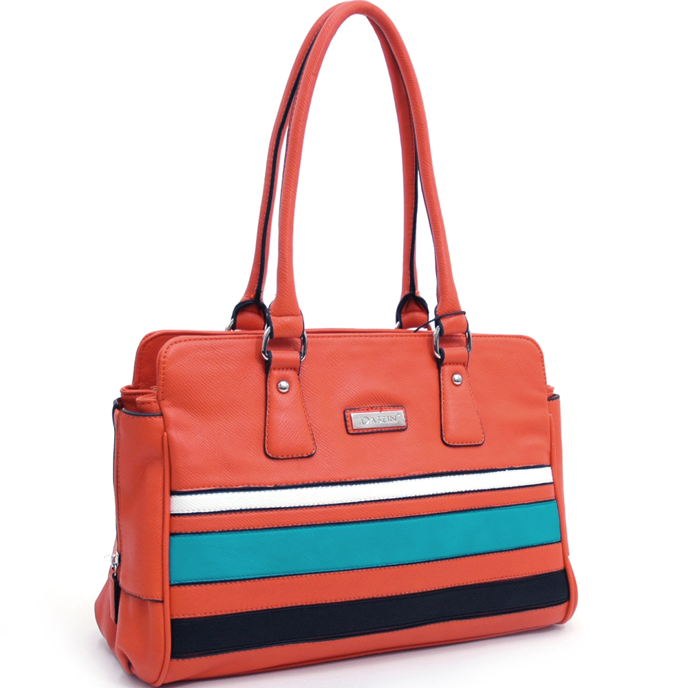Dasein® Block Color Striped Shoulder Bag with Metal Logo Decor