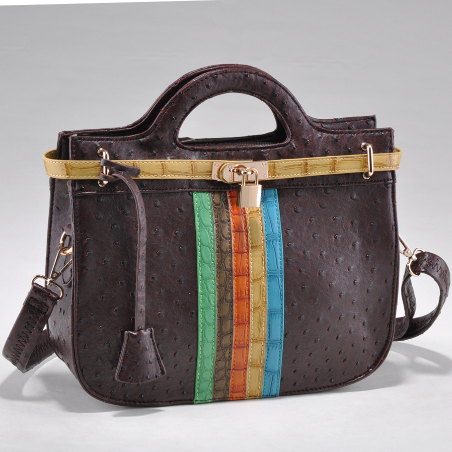 St. Barry® Ostrich Skin Satchel with Belted Croco Trim