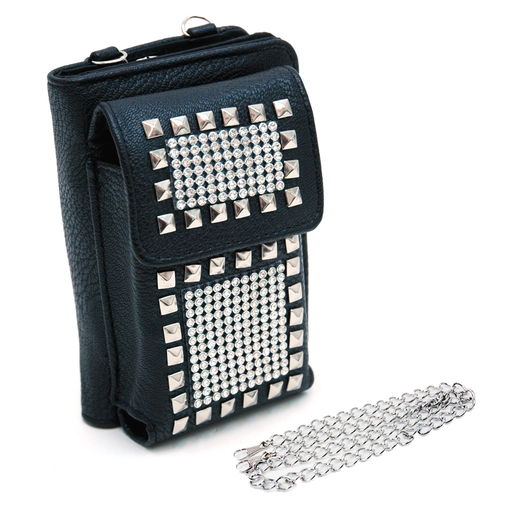 Cellphone holder and wallet w/ studs and rhinestone decor Black