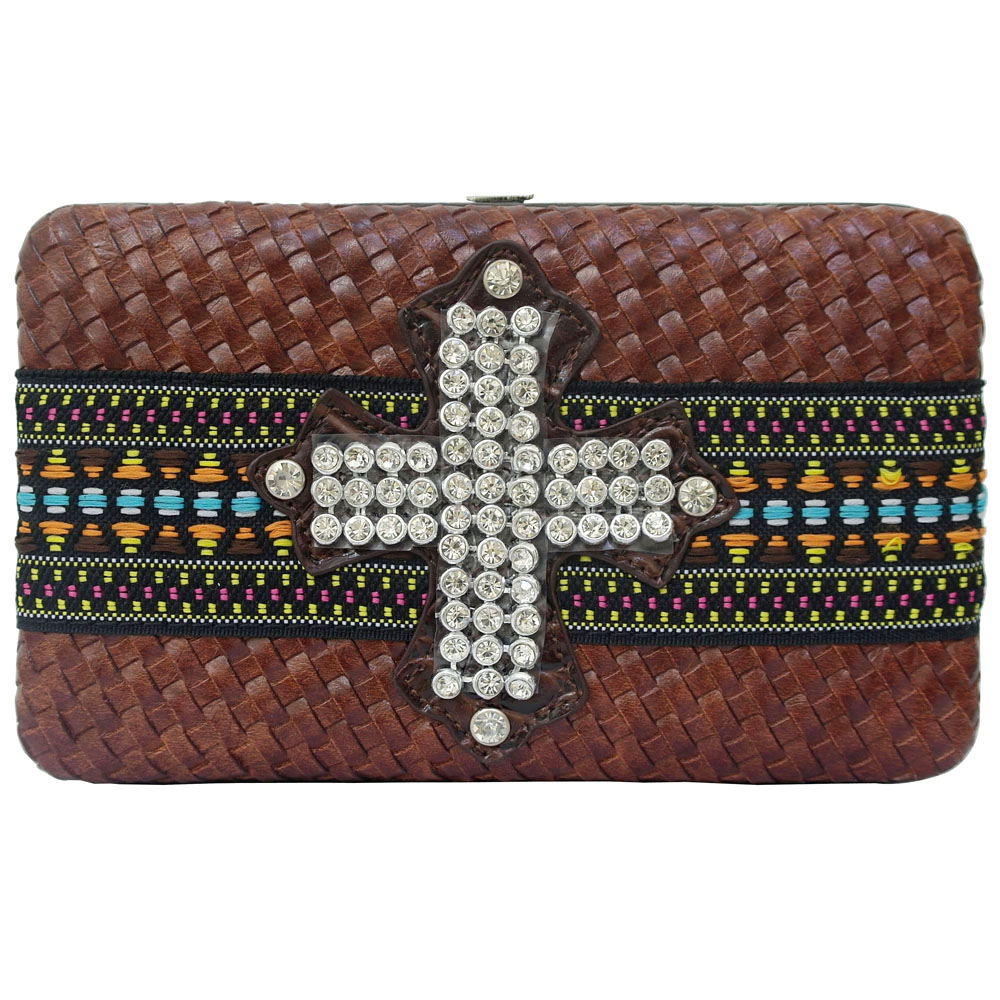Dasein Special Cross-weave Frame Wallet with Tribal Design and Rhinestone Cross-Brown