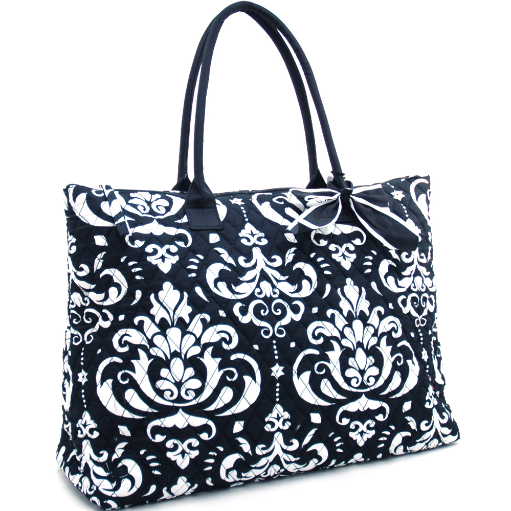 Fashlets Generic Large Quilted Damask Print Tote