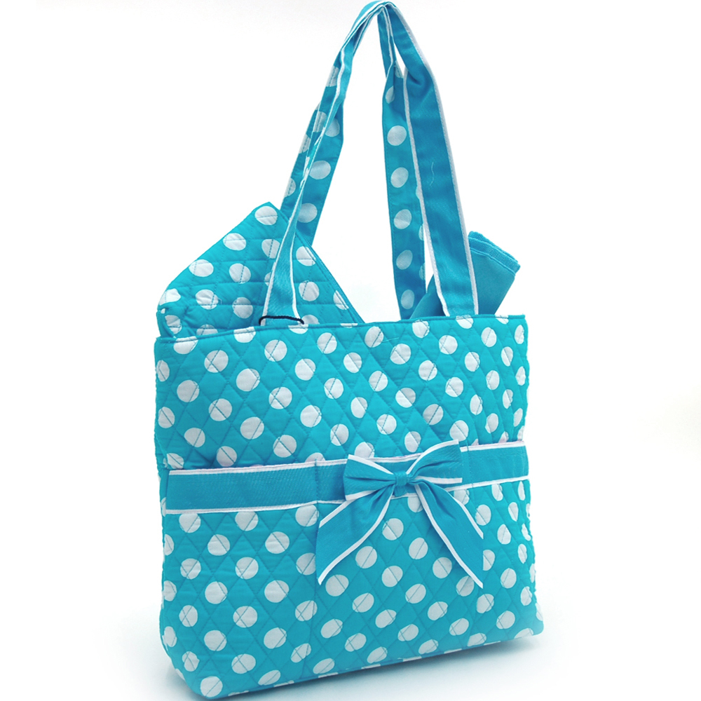 Fashlets Generic Quilted Polka Dot 3-Piece Tote With Front Ribbon