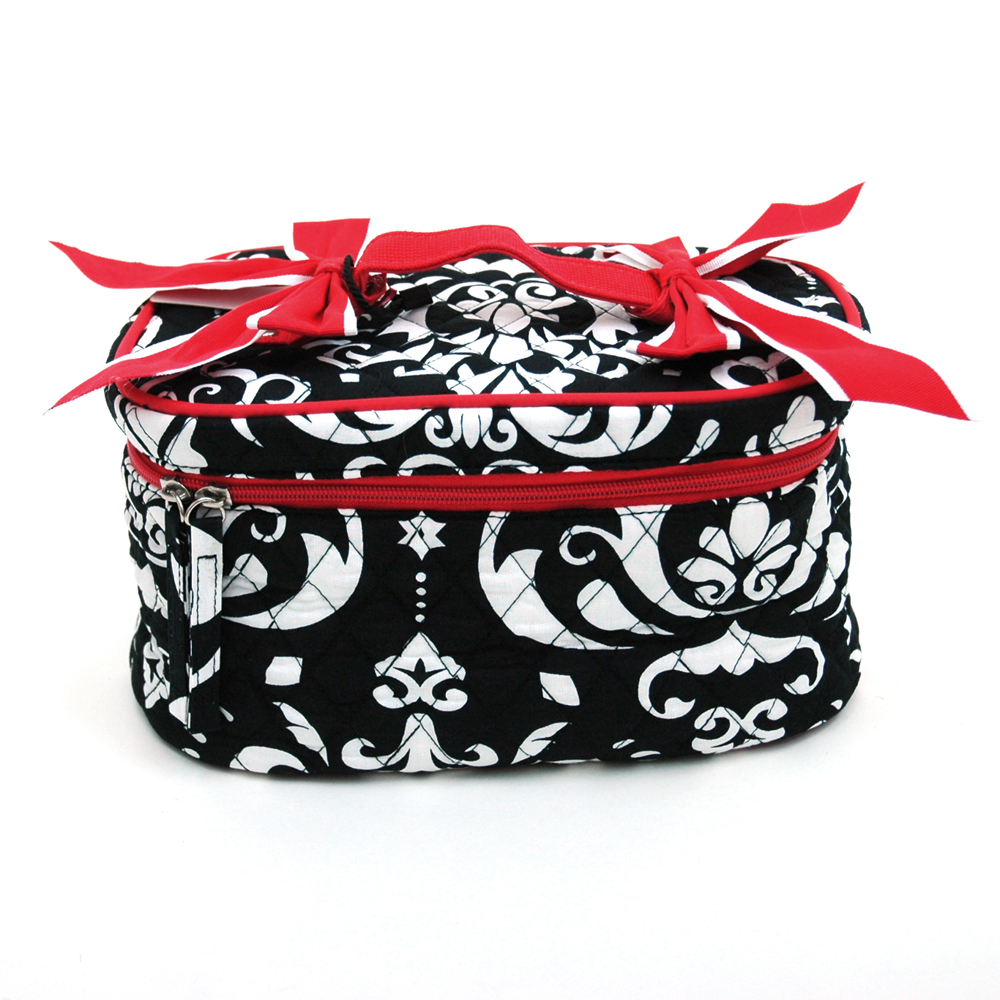 Fashlets Generic Quilted Damask Print Cosmetic Bag