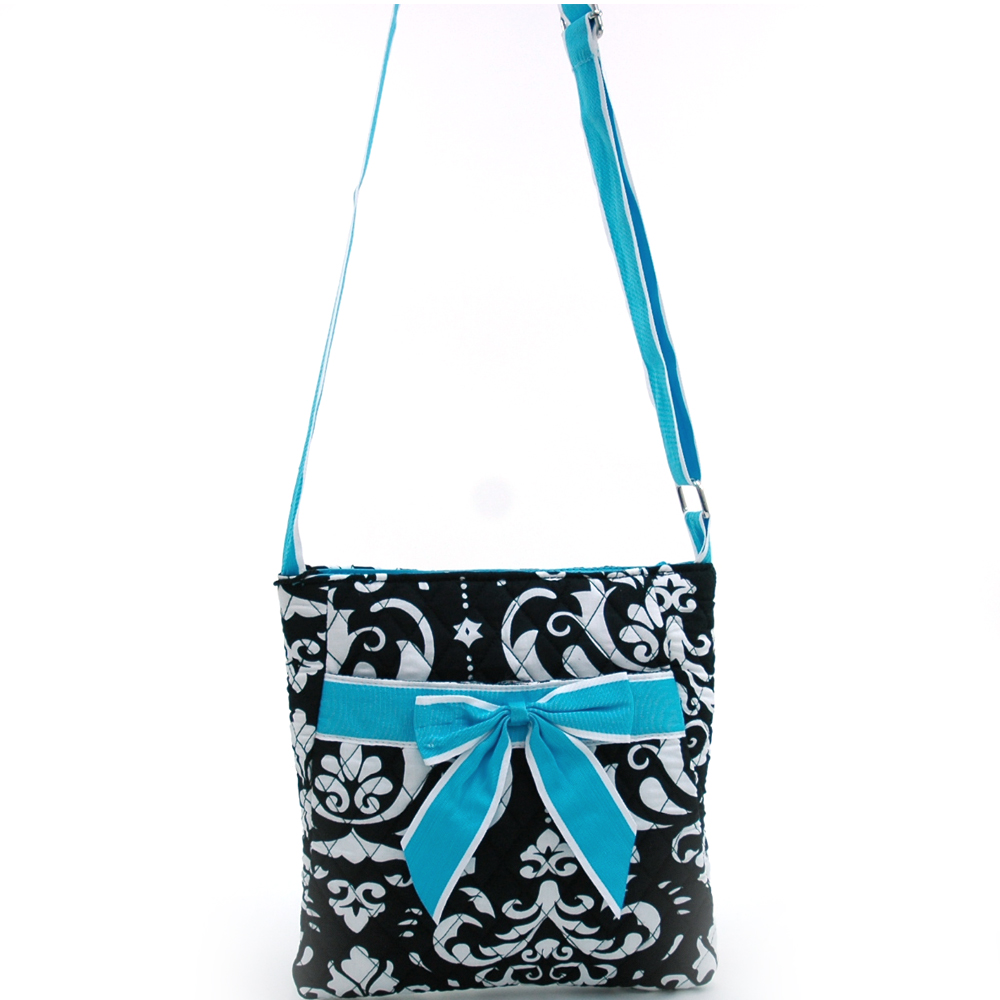 Fashlets Generic Quilted Damask Print Messenger Bag