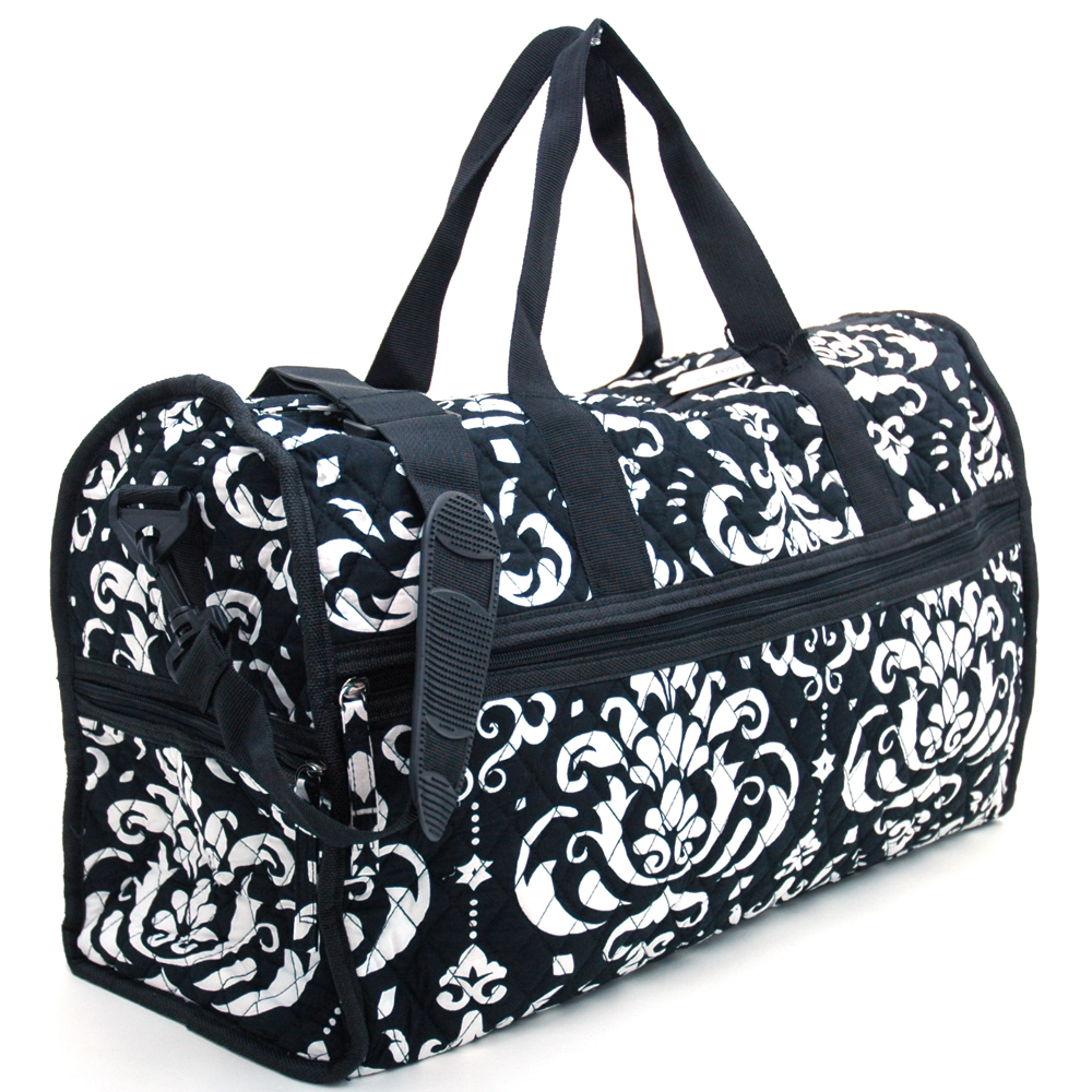 Fashlets Generic® Quilted Damask Print Duffel Bag With Bonus Makeup Bag