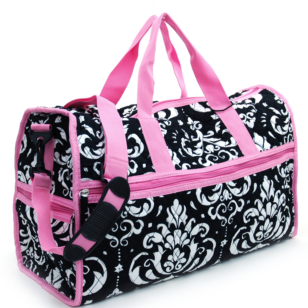 Fashlets Generic Quilted Damask Print Duffel Bag With Bonus Makeup Bag